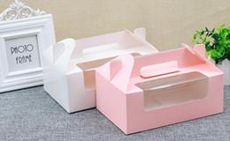2019 rifornimenti della scatola dell'imballaggio della torta Scatola di cupcake di carta con finestra 6 fori torta muffin scatole di imballaggio matrimonio regalo di compleanno titolare di imballaggio forniture rifornimenti della scatola dell'imballaggio della torta economici