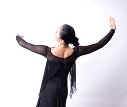 Argentina Baile de salón baile moderno manga de gasa hueca camiseta abrigo superior T13032 hoja de loto flotante top de práctica cheap lotus t shirts Suministro