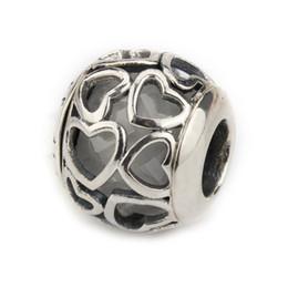 Canada 925 Sterling Silver Lovely Encased in Love coeur perles avec Clear CZ Fit bracelets bracelets facettes coeur perles bijoux Offre