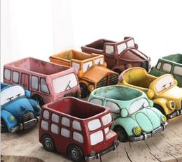 Wholesale Miniature Vases - Cartoon Ceramic Vase Succulent Plants Mini Garden Vintage Car Shaped Flowerpot Truck Planter Miniature Planters Home Office Decoration