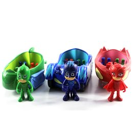 Wholesale Doll Masks - 3pcs lot Pj Characters Catboy Gekko Cloak Action Figure Freddy Toys Boy Gift 3.5inch Doll With 3 Seats Car Pj Mask Cartoon Model