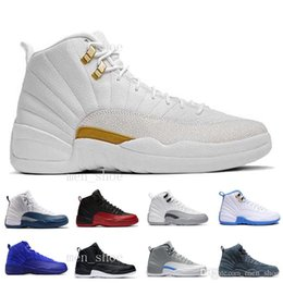Wholesale Mens Blue Suede Boots - Wholesale mens basketball shoes 12 TAXI ovo white Flu Game gamma blue Playoffs French Blue gym red Barons sneaker Boots