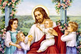 Wholesale Needlework Pictures - New Needlework diy Diamond embroidery child Jesus Diamond Painting Christian god Square diamond rhinestone Mosaic picture