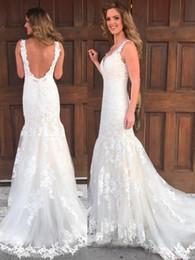 b50aa7cd8 Vestidos de novia de la sirena sin respaldo hechos en China Apliques de  encaje con cuello en V 2018 Vestidos de novia de la nueva llegada de  primavera de ...