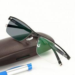 Sonnenbrille verfärbung online-Neue Design Photochrome Lesebrille Männer Halbrand Titanlegierung Presbyopie Brillen Sonnenbrille Verfärbung mit Dioptrien