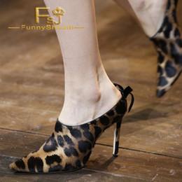 Zapatos stilettos marrones online-Tacones con estampado de leopardo marrón Punta puntiaguda Tacones de aguja Mulas Verano Mujer Zapatos Generoso Noble Incomparable Black Friday FSJ Sexy