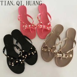 Wholesale Rubber Jelly Flats - Summer Casual Style Jelly Shoes Women Sandals Flats Rivet Slippers Fashion Woman Shoes Size 36-41 TIAN.QI.HUANG Brand