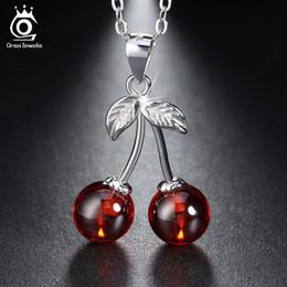 Orsa jóias on-line-Orsa Jóias 925 Sterling Silver Red Pedra Natural Cereja Pingente Colares Para As Mulheres Genuine Jóias De Prata Colar de Presente Sn03