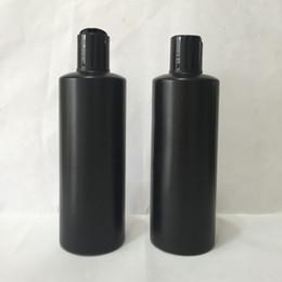 botellas de champú de plástico al por mayor Rebajas Comercio al por mayor 20 unids / lote 300 ml botellas de cosméticos de viaje redondo de plástico negro pequeño recipiente de la loción con tapa de rosca, botellas de champú con tapa de disco