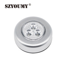 Wholesale Pats Light - SZYOUMY New 3LED Touch Lamp Pat Lights Car Ceiling Wall Cabinet Light Round Battery Powered Stick Tap Touch Light Click Lamp