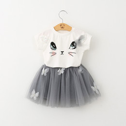 Wholesale Cat Zebra - Vieeoease Girls Sets Cat Kids Clothing 2018 Summer Cute Short Sleeve Cotton Top + Floral Tutu Skirt Children Outfits 2 pcs HX-953