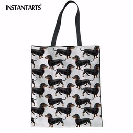 964312fac INSTANTARTS Canvas Tote Female Single Shopping Bags Large Capacity Women  Canvas Beach Bags Dachshund Dog Print Casual Tote Bag