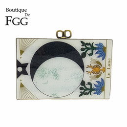 Wholesale Acrylic Box Clutch Purse - Boutique De FGG Vintage Zodiac\Sign Women Fashion Day Clutches Handbag Evening Acrylic Box Clutch Purse Shoulder Crossbody Bag