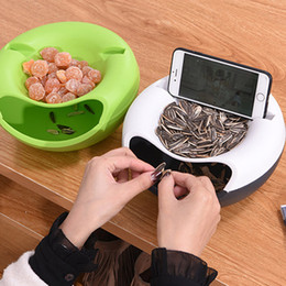 Wholesale round nuts - Storage Box Plate Dish Tray with Mobile Phone Stents Organizer Creative Melon Seeds Nut Bowl Table Candy Dry Fruit Holder