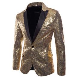 2019 gold pailletten kleid schal Herren Schal Revers Blazer Designs Plus Size Weihnachten Herren Kleid Gold Pailletten Anzug Herren Jacke Mantel Festival Sänger Kleidung günstig gold pailletten kleid schal