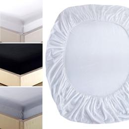 Ropa de cama gris sólido online-Sábana ajustable en color liso, Sábanas de impresión reactiva Ropa de cama, ropa de cama, cubrecolchón Blanco Gris Negro # 38