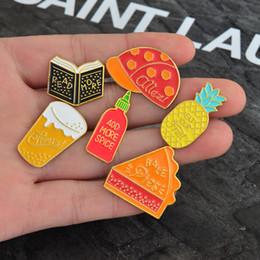 2019 pin 3cm 1 Unids Shuangshuo Moda Esmalte Pin libro piña cerveza y tapa Broches para Mujeres Pin de Solapa 1-3 cm CP1956 pin 3cm baratos