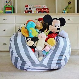 Wholesale Flat Chair - New Creative Modern Storage Stuffed Animal Storage Bean Bag Chair Portable Kids Clothes Toy Storage Bags