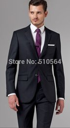 Wholesale Italian Wool Men Suit - Custom made Italian high quality worsted 100% pure Wool suit Men Business suit Two Buttons dark Navy Pinstripe