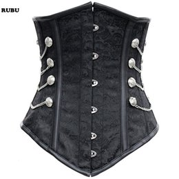 Wholesale Gothic Corset Buckle - Black Satin Underbust Corset with Chains buckle women gothic steampunk bustiers corsets waist Belly Pattern Steampunk Corset