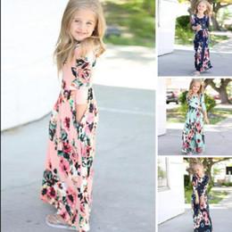 Meninas boho roupa on-line-Crianças baby girl dress boho floral longo dress roupas manga longa impresso floral verão princesa dress kka4375