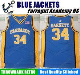 Wholesale Man School - HOT Farragut Academy BLUE JACKETS HIGH SCHOOL 34 Kevin Garnett Stitched jerseys Jersey SHIRT cheap sport basketball throwback retro