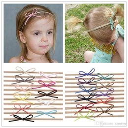 Wholesale fashion bow headbands - Fashion Baby Nylon Elastic Headbands Bow Kids Girls DIY Bowknot Hairbands Children Hair Accessories Simple cute headwear 22 Color KHA87
