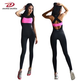 5ae9b3335cec Fitness Sport Suit Women Tracksuit Yoga Set Backless Gym Running Set  Sportswear Leggings Tight Jumpsuits Workout Sports Clothing