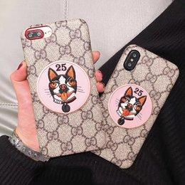 Wholesale mobile covers printing - For iPhone X case New Print English Lettering Embroidery Cartoon Dog Mobile Shell for iphone 7 7plus hard back cover for iPhone 6 6S 6plus