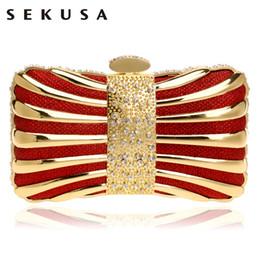 Wholesale Mix Color Handbag Shoulder Bag - SEKUSA Chain Shoulder Clutches Evening Bags Diamonds Tin Mixed Color Black Red Silver Blue Gold Evening Bag For Wedding Handbags