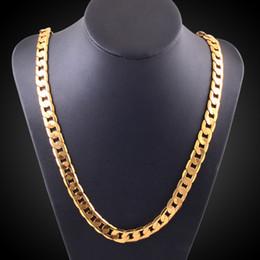 Sólidas correntes de ouro liso on-line-Alta qualidade 18 K SELO AMARELO Sólido OURO GF FLAT RIM CADEIA CORRENTE MULHERES HOMENS MACHO SÓLIDA 20 POLEGADAS COLAR 10 MM