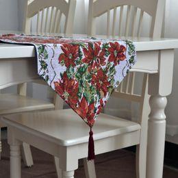 Wholesale Print Christmas Table Runner - Christmas Table Runner Floral Printing Table Runners With Tassels Home Decor Ornaments Christmas Gift camino de mesa navidad