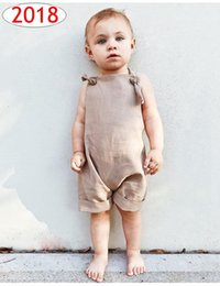 Wholesale winter overalls men - ins summer kids khaki Jumpsuits rompers clothes New childrens harness shorts men and women baby overalls summer clothes 70-80-90-100cm free