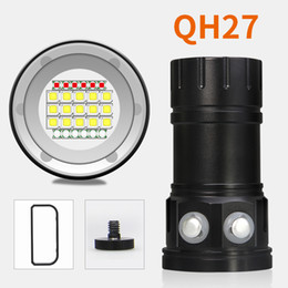 Wholesale photography works - 6pcs QH27 180W 18000LM IPX8 Underwater 80M Professional LED Diving Flashlight Torch Photo Photography Video Fill Light