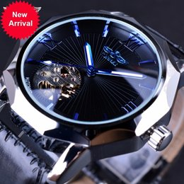 Wholesale Winner Clock - Winner Blue Ocean Geometry Design Transparent Skeleton Dial Mens Watch Top Brand Luxury Automatic Fashion Mechanical Watch Clock