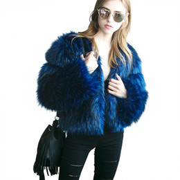 abrigo de invierno azul Rebajas Abrigo de piel de zorro de imitación de mujer negro azul Abrigo de peluche de manga larga de talla grande 2018 Abrigo de piel de mujer de chaqueta corta de invierno