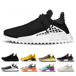 Wholesale Light Christmas - Human race shoes Hu Trail Equality NERD black Cream white men women sports sneaker Holi Canvas sports athletic trainer running Shoes 36-45