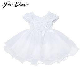 7f91ab5179 Novo bebê menina vestidos branco infantil bebê meninas 3d rose flor organza  festa de casamento baptismo vestido batismo