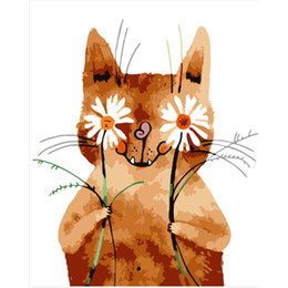 painting paint number kits Coupons - Frameless Cute Cat Diy Digital Painting By Numbers Kits Hand Painted Oil Painting Home Wall Art Picture For Wedding Decoration