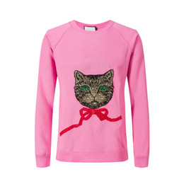 Wholesale Cotton Cat Collar - 2018 woman cat flash embroidery Top Sweatshirts Long Sleeve Round collar Shirts pink Brand New gypsy size S-XL