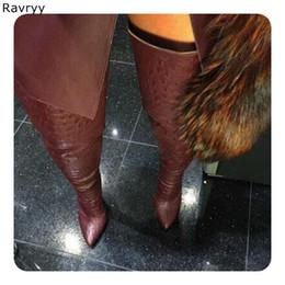 1408da0a1f4a 2018 vin rouge en cuir longues bottes fermeture éclair femme bottes sur le  genou bout pointu talon mince automne hiver mode femme chaussures bottes  longues ...