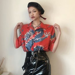 2019 häkeln peopum top lange ärmel Harajuku Frauen Shirt Tops Japanisch Kurzarm Dragon Print Shirts Umlegekragen Casual Bluse