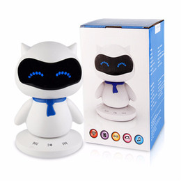 Wholesale Function Music - Mini Portable cute Robot Smart Bluetooth Speaker With Music Calls Handsfree TF MP3 AUX Function for All Bluetooth Devices