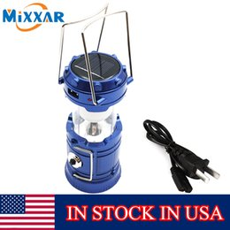 Wholesale Led Lantern Solar Crank - Stock In USA Outdoor Portable LED Camping Light Lantern Solar Charger Lantern Rechargeable with Charging Cable USB Port Hand Crank Lamp