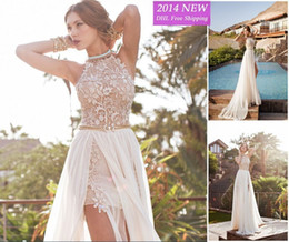 Wholesale Bateau Neck Feathered Prom Dress - romantic white prom dresses 2018 high low lace special occasion dress high neck beaded chiffon party dress WV-746