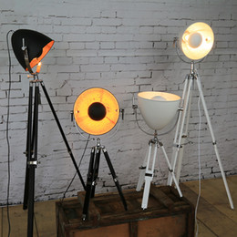 Wholesale Vintage Red Light Bulb - Creative Tripod Searchlight loft country industry vintage floor Lamps with Edison bulbs living room light fixtures