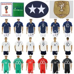 Wholesale men s home pants - Men Football Kits Set Shorts Pants 7 Antoine Griezmann Shirt 9 Olivier Giroud 10 Kylian Mbappe Soccer Jersey Franck Ribery Home Blue White