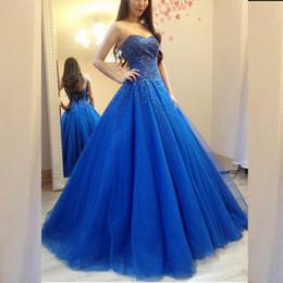 Argentina Sparkly Beaded Royal Blue vestido de fiesta una línea de novia sin mangas corsé espalda Puffy tul largo formal vestidos de fiesta de noche colores personalizados Suministro