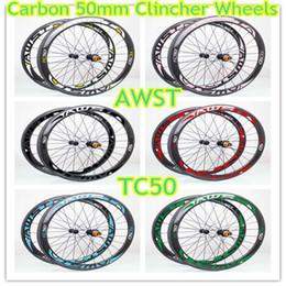 Wholesale Wheel Carbon Racing - 2018 top sale bicycle carbon wheels clincher 700C 50mm bor white red road bike wheels basalt surface V brake made in taiwan race bike wheel