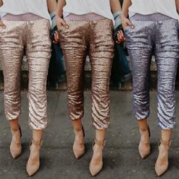 Вечерние брюки женщины онлайн-Women Sequins Pencil Pants Evening Cocktail Party Club Wear Leggings Trousers